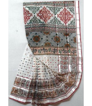 Silver Lining Printed Pure Cotton Saree