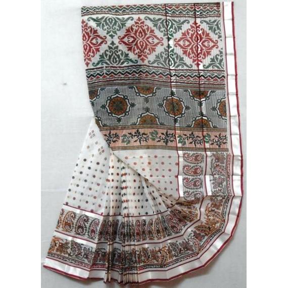 Silver Lining Printed Pure Cotton Saree
