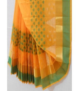 Mango Resham Booti With Flora Zari Brocade on Green Resham Bar
