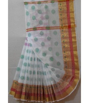 Light Boota Saree With Gold Zari Brocade