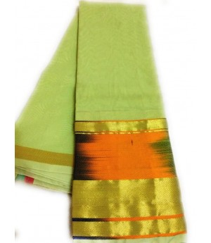 Plain Saree With Multi Color Brocade