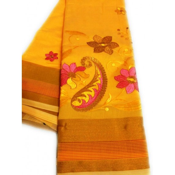 Fancy Cotton Embroidery Saree