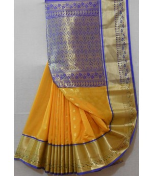 Silk Saree With Wide Zari Brocade & Aanchal