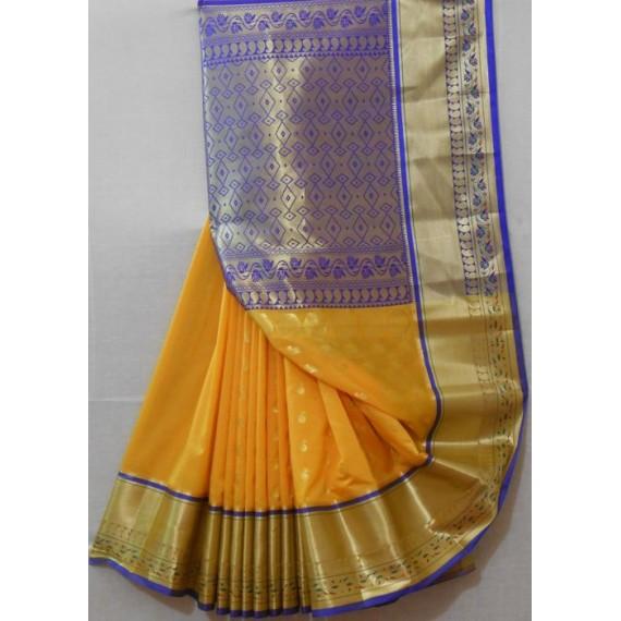 Silk Saree With Wide Zari Brocade & Aanchal