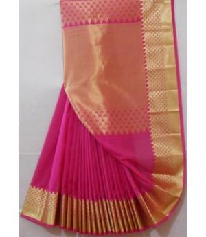 Silk Plain Saree With Zari Brocade & Plain Zari Aanchal