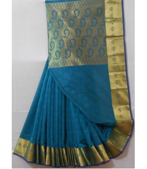 Satin Saree With Zari Brocade & Mango Zari Aanchal