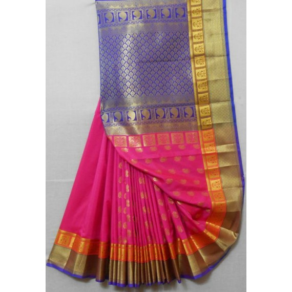 Silk Banarasi Saree With Full Gold Zari Aanchal & Brocade