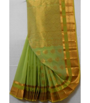 Cotton Saree With Full Zari Aanchal & Bar Brocade