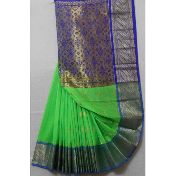 Silk Cotton Saree With Full Zari Aanchal & Wide Zari Brocade
