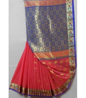 Cotton Saree With Full Zari Aanchal & Brocade