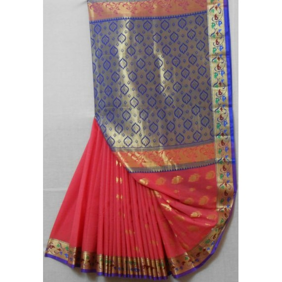 Cotton Saree With Full Zari Aanchal & Brocade