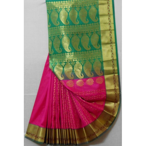 Silk Banarasi Saree With Full Zari Kangoora Aanchal & Brocade