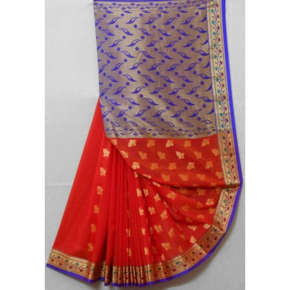 Cotton Saree With Resham Aanchal & Brocade