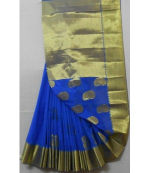 Cotton Saree With Kangoora Boota Full Plain Zari Aanchal & Brocade