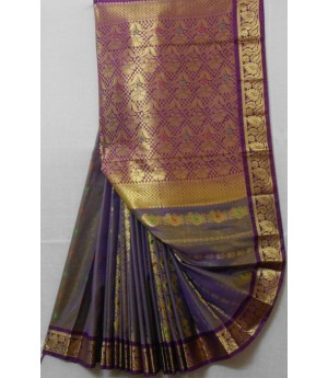Satin Banarasi Saree With Full Gold Zari Brocade & Aanchal