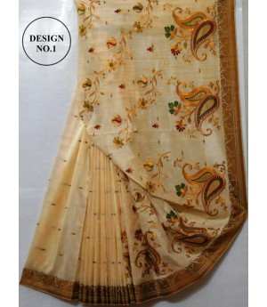 Ultra Soft Cotton Cream Emroidery Saree With Resham Brocade