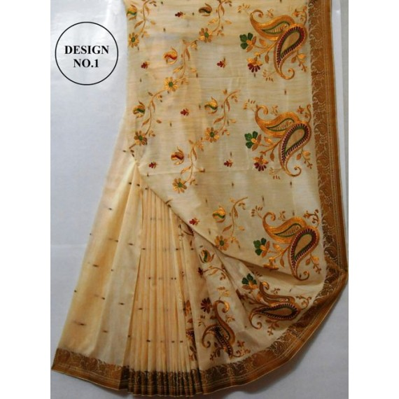 BUY 1 GET 1 FREE Ghicha Cream Emroidery Saree With Resham Brocade