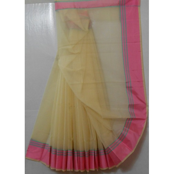 Cotton Kota Cream Light Weight Square Check Saree With Zari & Satin Brocade