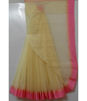 Cotton Kota Cream Light Weight Square Check Saree With Satin Lace Brocade