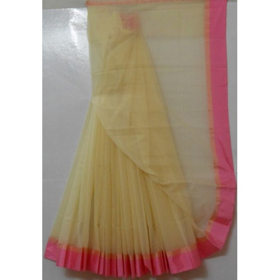 Cotton Kota Cream Light Weight Square Check Saree With Satin Lace Brocade