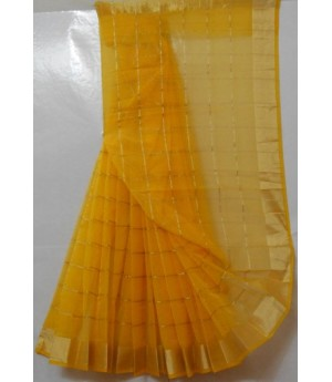Fabulous Cotton Kota Saree With Square Zari Check & Equal Brocade