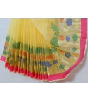 Cotton Kota Light Weight Square Check Saree With Pastel Brocade