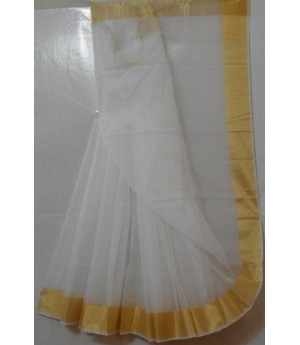 Cotton Kota Pure White Square Check Saree With Gold Zari Brocade