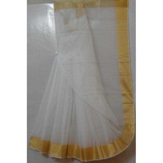Cotton Kota Pure White Square Check Saree With Gold Zari Brocade