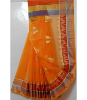 Cotton Kota Square Check Saree With Butterfly Booti All Over & Brocade