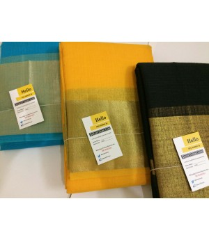 Kolam Pattu Plain Square Check Saree With Wide Zari Brocade