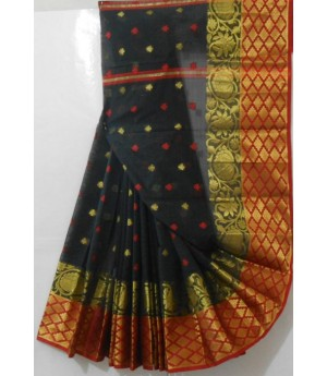 Jio Booti Saree With Wide Gold Zari Brocade & Flower