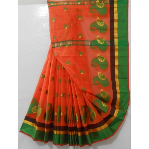 Catonic Mango Booti Saree With Zari & Resham Brocade