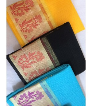 Pure Cotton Kota Saree With Resham & Zari Brocade