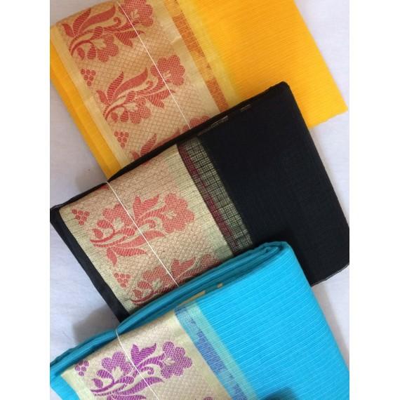 Buy 1 Get 1 FREE Pure Cotton Kota Saree With Resham & Zari Brocade