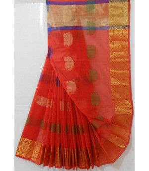 Handloom Resham Boota Saree With Gold Zari Brocade