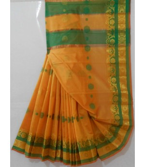 Catonic Booti Saree With Resham Gold Zari Brocade