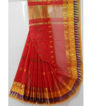 Pulse Booti Saree With Wide Gold Zari & Resham Brocade