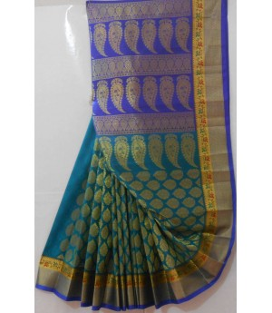 Banarasi Saree With Full Zari Kangoora Aanchal & Twin Shade Brocade