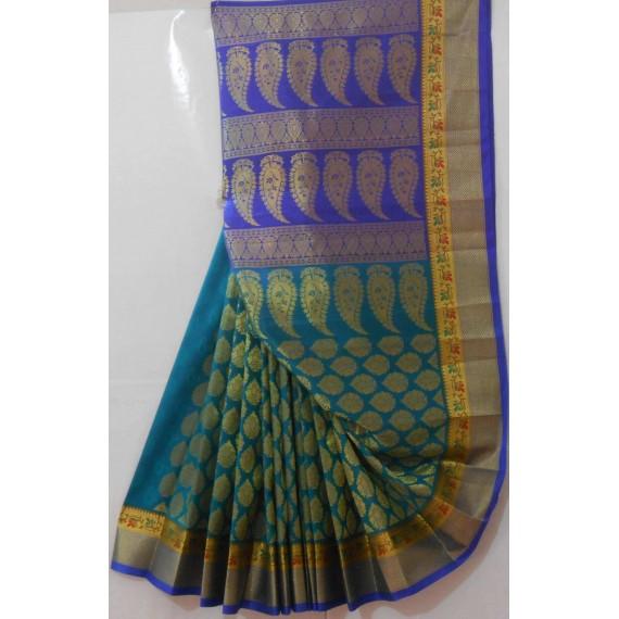 Banarasi Saree With Full Zari Kangoora Aanchal & Twin Shade Brocade
