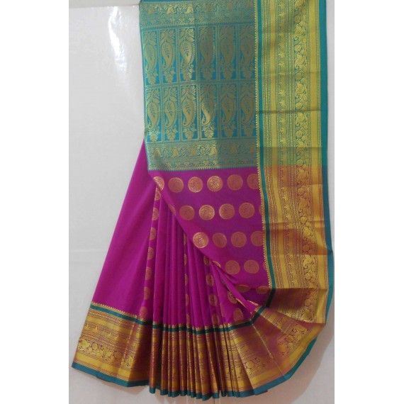 Banarasi Saree With Full Zari Aanchal & Round Boota All Over