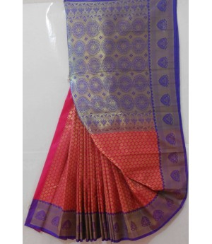 Banarasi Saree With Full Circle Zari Aanchal & Small Booti All Over