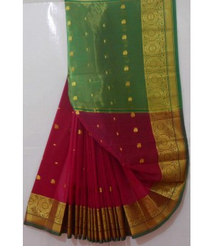 Acrylic Booti Saree With Gold Zari Circle Brocade