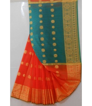 Acrylic Cotton Booti Saree With Wide Resham Brocade