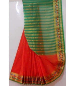 Acrylic Booti Saree With Resham & Gold Zari Flora Brocade