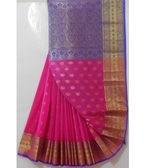 Banarasi Saree With Full Zari Aanchal & Wide Zari Brocade