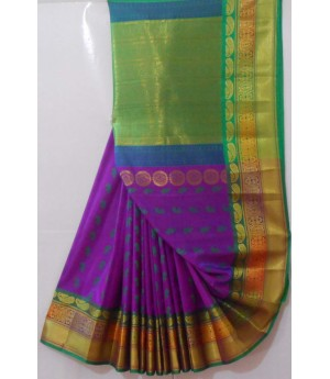 Banarasi Saree With Full Zari Aanchal & Resham Boota With Kangoora Brocade