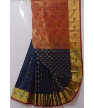 Banarasi Saree With Full Zari Aanchal & Kangoora Boota Zari Resham Brocade