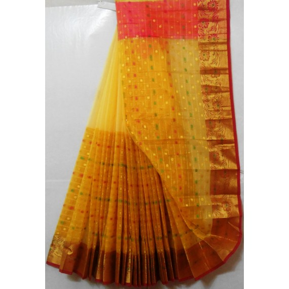 Cotton Kota Half Half Contrast Twin Shade Booti Saree