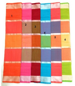 Cotton Kota Multi Color Bar With Silver Lining & Brocade