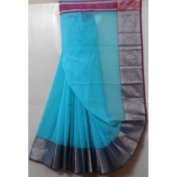 Cotton Kota Plain Square Check Saree With Silver Zari Brocade